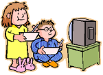 Drawing of children watching television