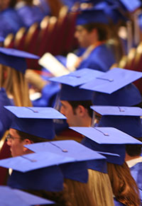 photo illustration of graduates wearing caps and gowns