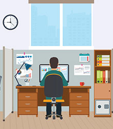 iStock illustration of a man working in an office cubicle