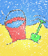 Illustration of sand pail and shovel