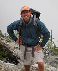 Photo of autism researcher Dr. Raphael Bernier hiking