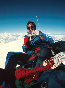 Photo of Louis Reichardt on summit of Mount Everest