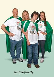 Ursitti family wearing capes in promotion for Autism BrainNet