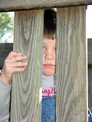 photo of child peering through slats of a fence, illustrating isolation of autism, from morguefile.com