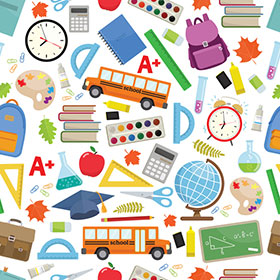 illustration of school supplies and backpacks for autism back to school article
